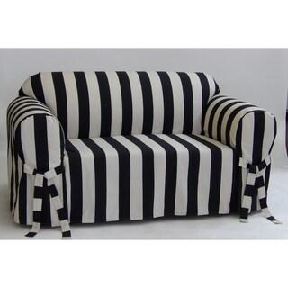 Classic Slipcovers Cabana Stripe One Piece Sofa Slipcover (Option: black and cream stripe)