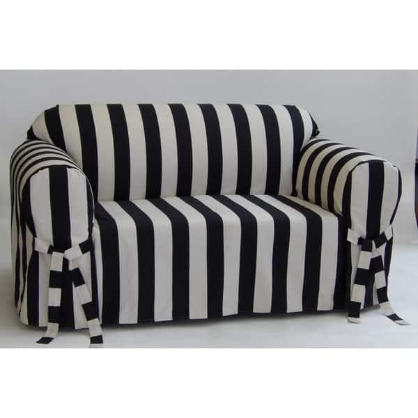Shop Classic Slipcovers Cabana Stripe One Piece Sofa ...