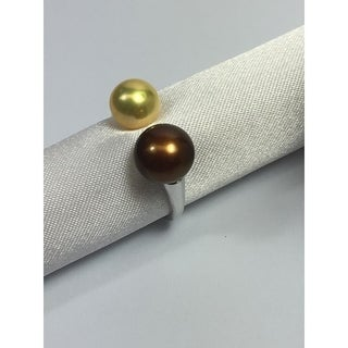 Sterling Silver and freshwater pearl Open end ring Brown by Pearl Lustre