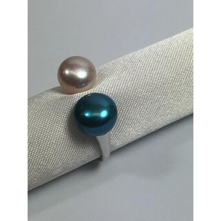 Sterling Silver and freshwater pearl Open end ring Blue by Pearl Lustre