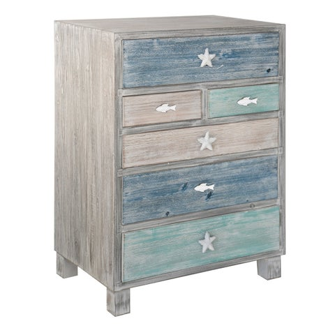 Key West Multi-color Driftwood Nautical 6-drawer Chest