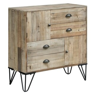 Northbrook Natural and Black Fur Wood 4-drawer 2-door Chest