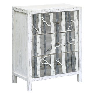 Mountain White and Grey Fur Wood 3-drawer Chest