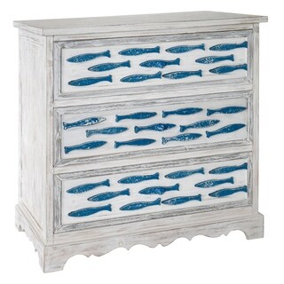 Swimming Upstream Antique White and Blue Fish 3-drawer Chest
