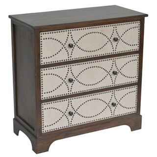 Claire Wood and Linen 3-drawer Nailhead Chest