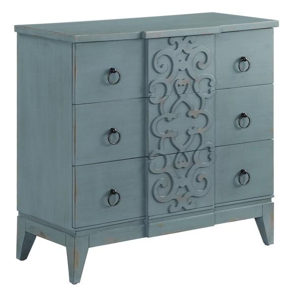 Roslyn Bedroom Furniture Set: Shop Roslyn Ocean Blue 3-drawer Fretwork Design Chest