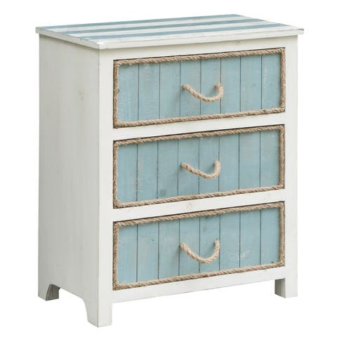 South S Blue And White 3 Drawer Accent Chest