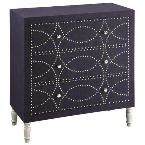 Cobalt Blue Fabric and Mango Wood Nailhead 3-drawer Chest