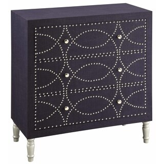 Cobalt Blue Fabric and Mango Wood Nailhead 3-drawer Chest