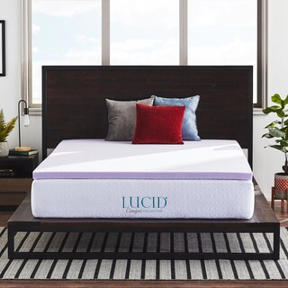 LUCID Comfort Collection 2 Inch Lavender Infused Memory Foam Mattress Topper (More options available)