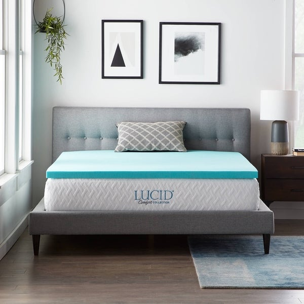 Lucid® Comfort Collection™ 2 Inch Gel Memory Foam Topper - Blue