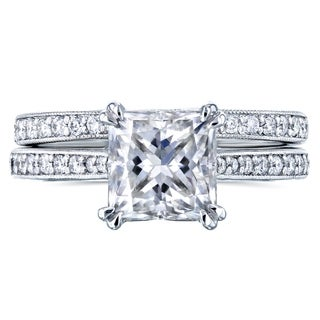 Link to Annello by Kobelli 14k Gold 2 1/3ct TGW Princess Moissanite and Diamond Square Shank Trellis Bridal Set (GH/VS, GH/I) Similar Items in Rings