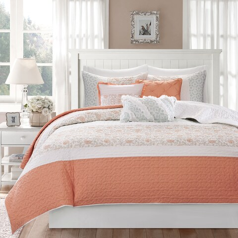 Copper Grove Burwell 6-piece Coral Cotton Percale Quilted Coverlet Set