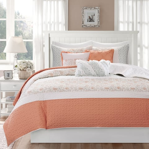 Copper Grove Aleza 6-piece Coral Cotton Percale Quilted Coverlet Set