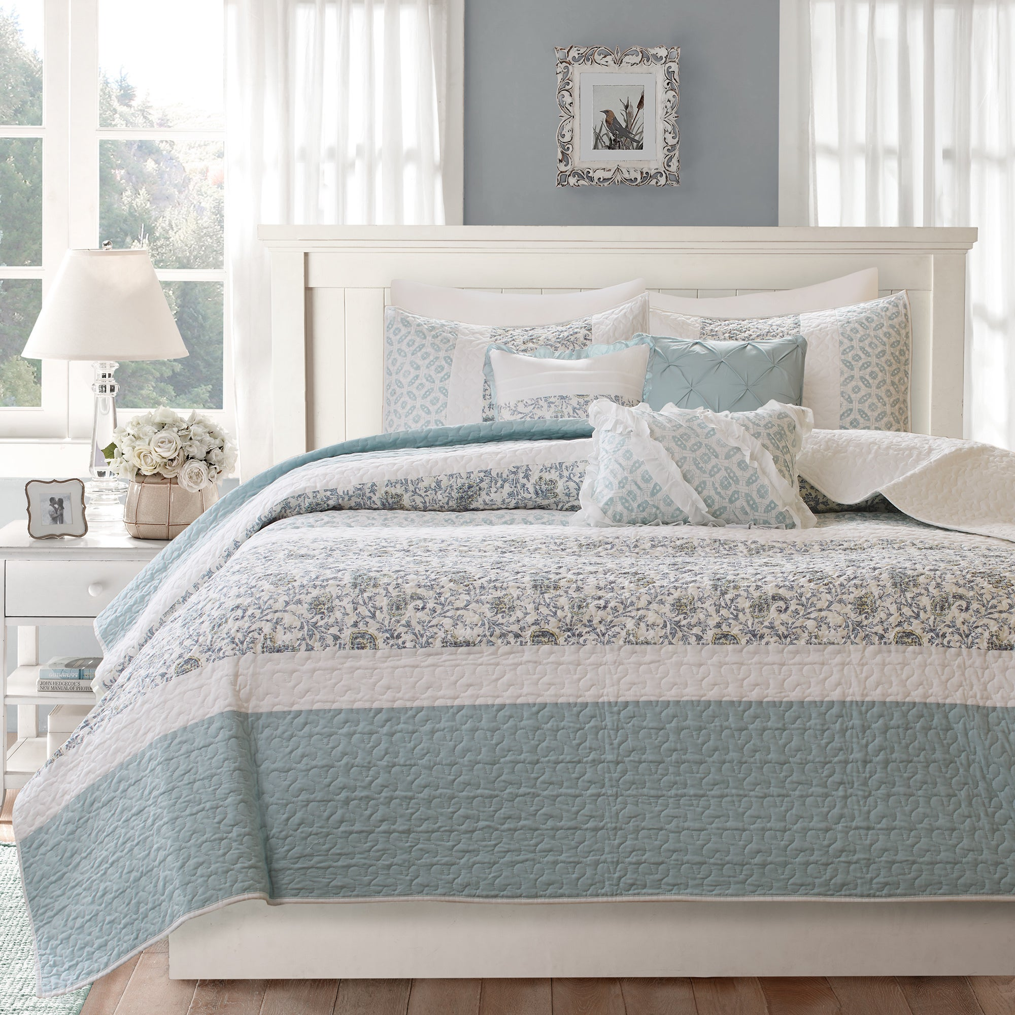 Madison Park Vanessa Blue Cotton Quilted 6 Piece Coverlet Set
