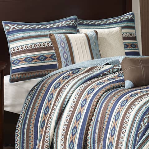 Copper Grove Geneva Blue Quilted 6-piece Coverlet Set