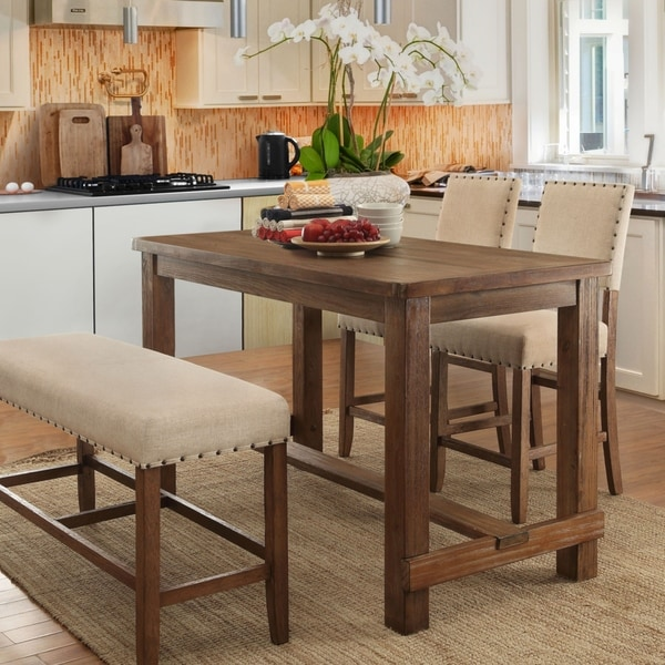 Counter Height Dining Sets On Sale: Shop Telara Rustic 4-Piece Natural Counter Height Dining