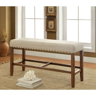 "Furniture of America Tays Contemporary Brown Counter Dining Bench - 44""L X 16""W X 25""H"