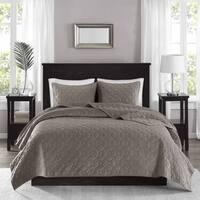 The Grey Barn Sleeping Hills Taupe Velvet 3-piece Coverlet Set