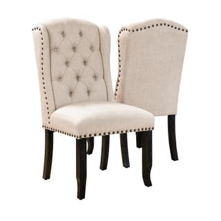Furniture Of America Telara Tufted Wingback Dining Chair Set 2