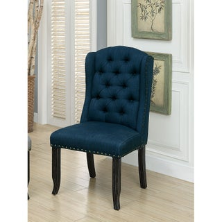 Furniture of America Telara Tufted Wingback Dining Chair (Set of 2) (Option: Dark Blue)