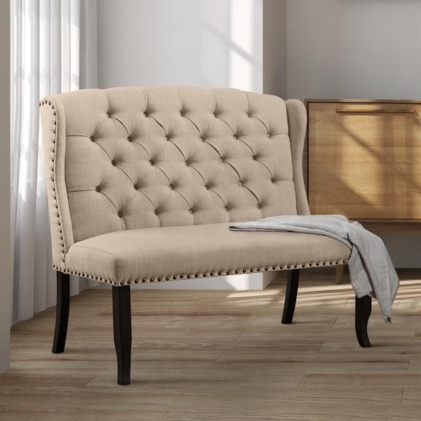 Shop Furniture Of America Telara Tufted Wingback Loveseat