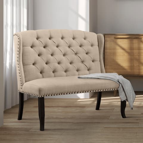 Telara Tufted Wingback Loveseat Dining Bench by FOA