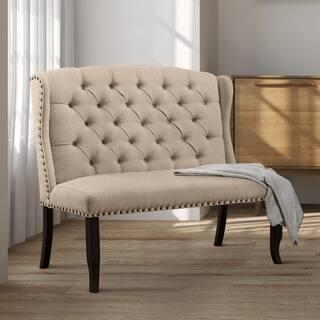 Furniture Of America Telara Foam Contemporary Tufted Wingback Loveseat Dining Bench
