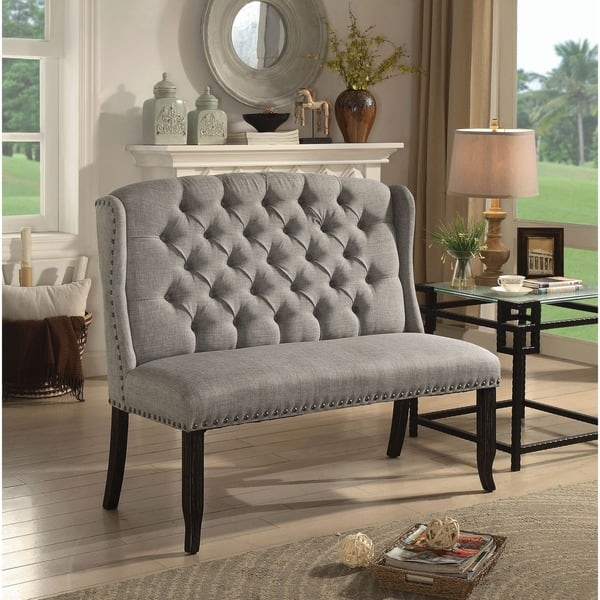 Swell Shop Telara Tufted Wingback Loveseat Dining Bench By Foa Pabps2019 Chair Design Images Pabps2019Com
