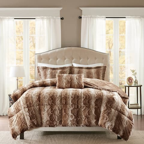 Madison Park Marselle Faux Fur Comforter Set 6-Color Option
