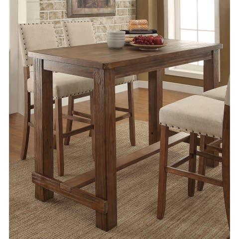 Furniture of America Tays Contemporary Brown Solid Wood Bar Table
