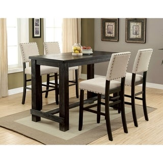 Furniture of America Vevo Black Solid Wood Bar Table