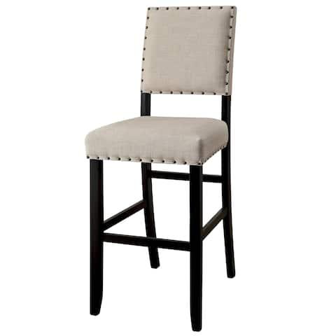 Furniture of America Telara Contemporary Antique Black Bar Height Chair (Set of 2)