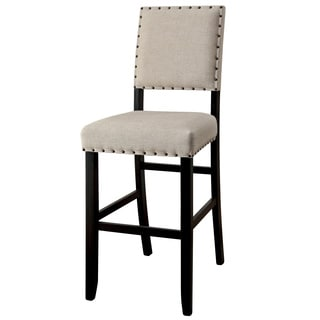 Furniture of America Telara Contemporary Antique Black Bar Height Chair (Set of 2)