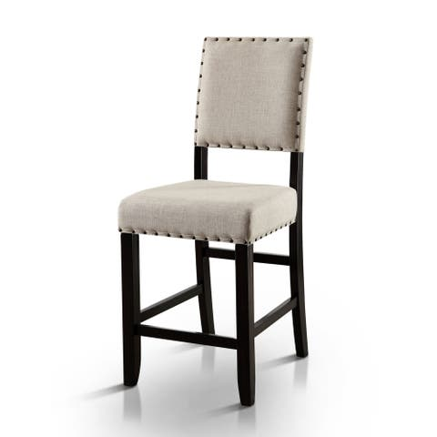 Furniture of America Tays Rustic Black Fabric Counter Chairs (Set of 2)