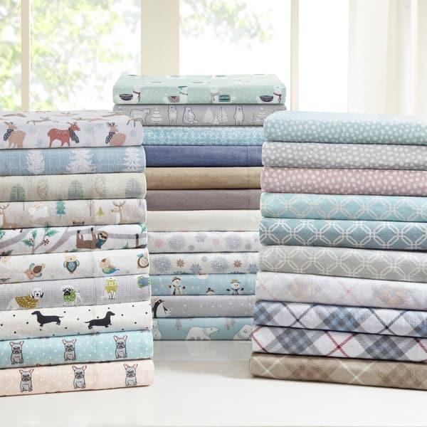 Taylor Olive Heron Flannel Cotton Bed Sheet Set On Sale Overstock 20830822