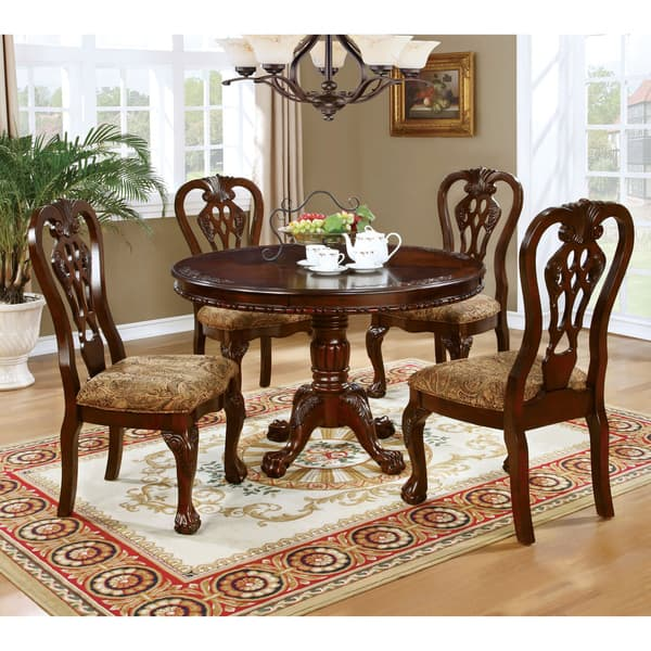 Furniture Of America Carpia Formal Brown Cherry Round Pedestal Dining Table On Sale Overstock 20830835