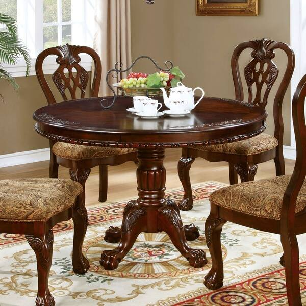 Shop Furniture Of America Carpia Formal Brown Cherry Round Pedestal Dining Table On Sale Overstock 20830835
