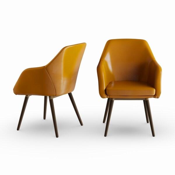 Carson Carrington Akrehamn 2-piece Cappuccino Faux Leather Arm Chairs Set with Beech Legs