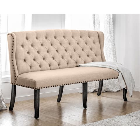 Telara Transitional Tufted Wingback 3-Seater Loveseat by FOA