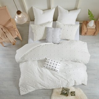 Maison Rouge Amelie Ivory Cotton Jacquard 7-piece Duvet Cover Set