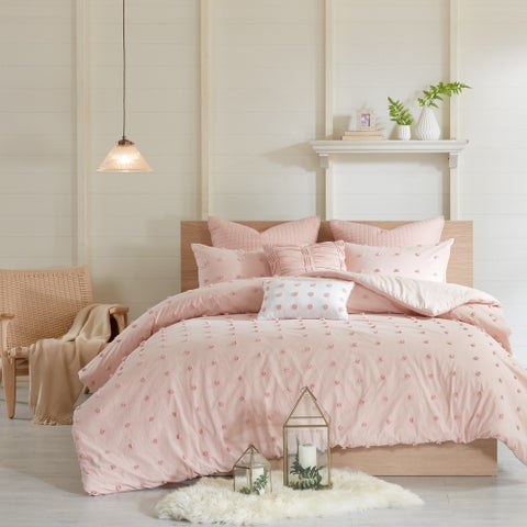 Copper Grove Vaseux Pink Cotton Jacquard Duvet Cover Set