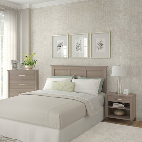 Strick & Bolton Elizabeth Ash Grey Headboard, Dresser, and Nightstand