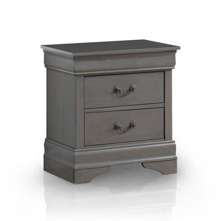 Furniture of America Devi Contemporary Grey Solid Wood Nightstand