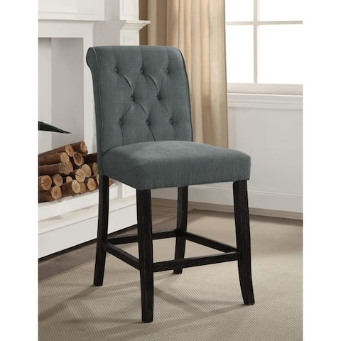 Copper Grove Bonshaw Contemporary Button Tufted Chenille Counter Height Chair (Set of 2)