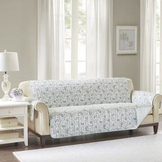 Madison Park Vanessa Blue Quilted Reversible Cotton Printed Sofa Protector - 110 x 75