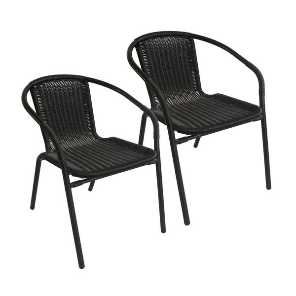 Indoor Black Wicker Dining Chairs