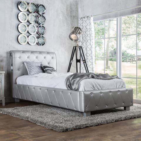 Silver Orchid Brenon Silver Leatherette Platform Bed with Bluetooth Speakers