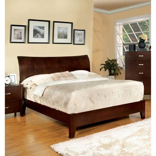 Mellowi Contemporary Brown Cherry Flared Panel Bed by FOA