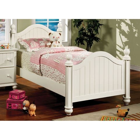 Furniture of America Nixi Cottage White Solid Wood Youth Panel Bed